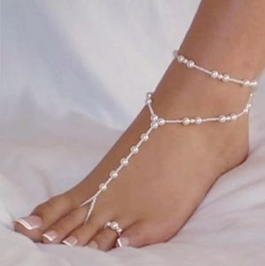 Pearly Stretchy Ankle Foot Jewelry Toe Ring Set